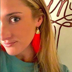 2/$20 Boho Fringe Feather Dangle Earrings